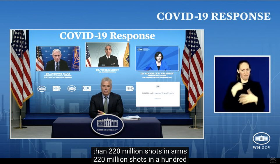 'We are treating the battle against the virus like the war that it is,' said White House Covid response coordinator Jeff Zients (center) during the Friday press briefing